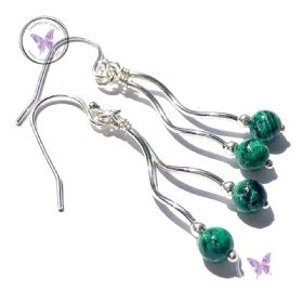 Chrysocolla Silver Double Twirl Dangler Earrings